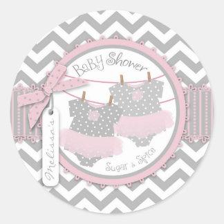 Twin Girls Tutus Chevron Print Baby Shower Round Sticker