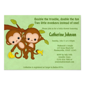 TWIN Monkeys Baby Shower Invitations GREEN MM2