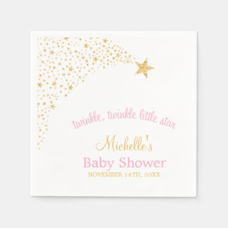 Twinkle Little Shooting Star Gold Pink Baby Shower Paper Napkin