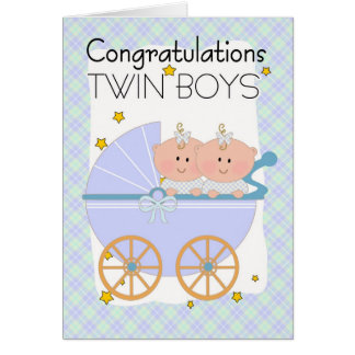 Twins - Congratulations Twin Boys In A Pram Greeting Card