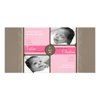 TWINS PHOTO BIRTH ANNOUNCEMENT :: cherished 5L Customized Photo Card
