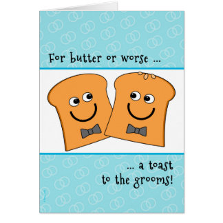 Two Grooms Gay Wedding Congratulations Funny Toast Greeting Card