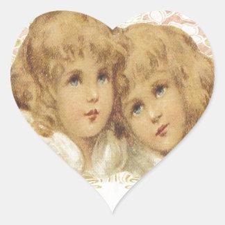 Two Little Vintage Angels Heart Sticker
