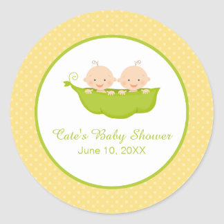 Two Peas in a Pod, Twins Baby Shower Personalized Round Sticker