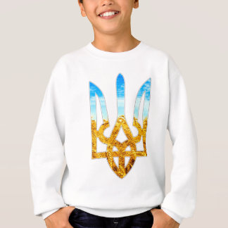 Ukrainian tryzub background of wheat and blue sky shirts