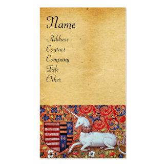 UNICORN / Antique Brown Parchment Business Card