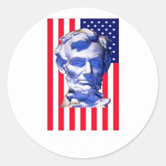 United States Flag Lincoln The MUSEUM Zazzle Round Sticker
