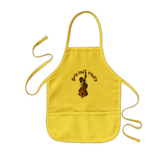Upright String Double Bass Player Woman Kids Apron
