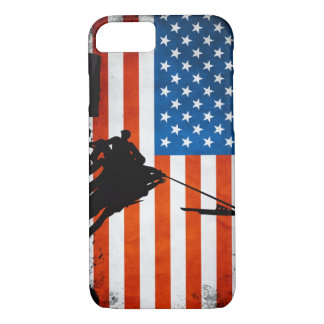 US Flag with Veterans Silhouettes iPhone 7 Case
