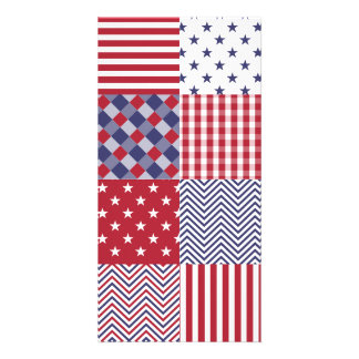 USA Americana Patchwork Red White & Blue Photo Greeting Card