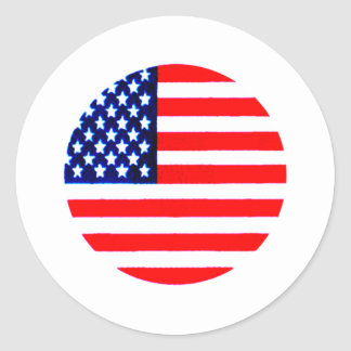 USA Flag Circle Tdhe MUSEUM Zazzle Round Sticker