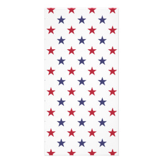 USA Flag Red and Flag Blue Stars Customized Photo Card