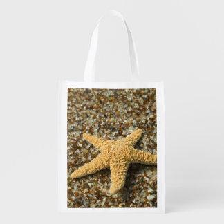 USA, HI, Kauai, Glass Beach with Star fish Market Totes