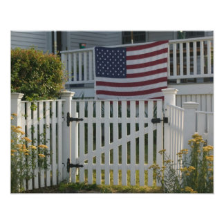 USA, Massachusettes, Gloucester: Patriotic Fence Poster
