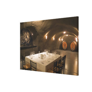 USA, Oregon, Dundee. Dining room in Archery Stretched Canvas Print