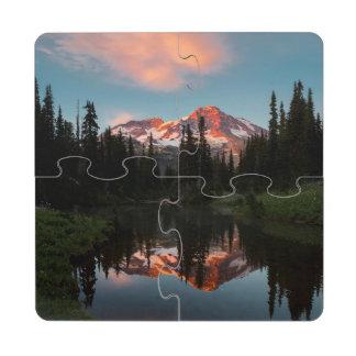 USA, Washington State. Mt. Rainier Reflected Puzzle Coaster