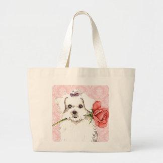 Valentine Rose Maltese Jumbo Tote Bag