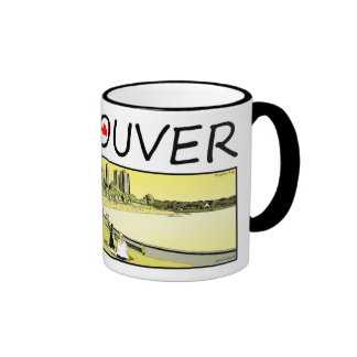 Vancouver Illustration - English Bay Ringer Coffee Mug
