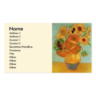 Vase à Van Gogh avec 12 tournesols, beaux-arts de Carte De Visite Standard