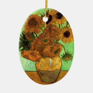 Vase à Van Gogh avec des tournesols, beaux-arts Ornement Ovale En Céramique