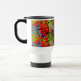 Vibrant Summery Tropical Leafy Abstract Patterned 15 Oz Stainless Steel Travel Mug