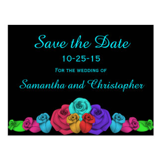 Vibrant wedding roses | Save the Date Postcard