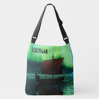 Viking Ship And Northern Lights Tote Bag