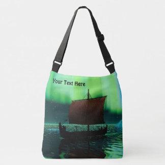 Viking Ship Under Northern Lights Tote Bag