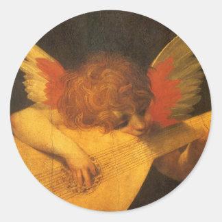 Vintage Art, Musician Angel by Rosso Fiorentino Round Sticker