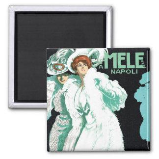 Vintage Art Nouveau, Fancy Women and Italy Fashion Square Magnet