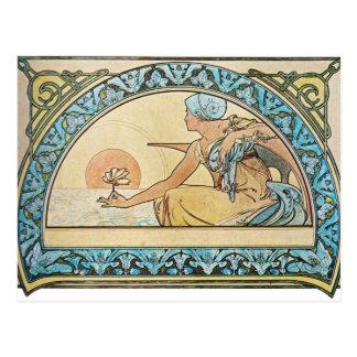 Vintage Art Nouveau sunset Postcard