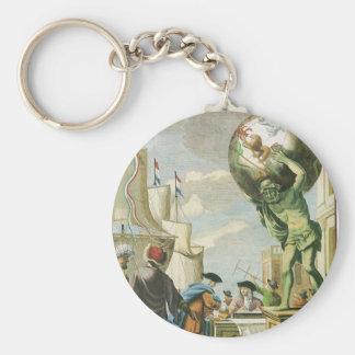 Vintage Atlas Frontispiece, World Globe Basic Round Button Keychain