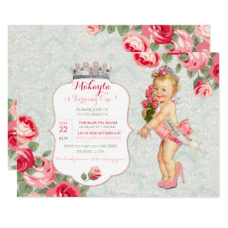 """Vintage Baby Little Miss American Pageant Princess 5"""" X 7"""" Invitation Card"""
