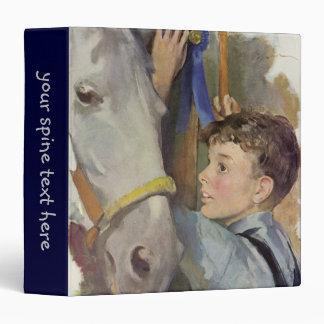 Vintage Boy with His Blue Ribbon Winning Horse Vinyl Binders