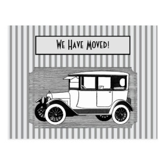Vintage Car on Gray Stripes Change of Address Postcard