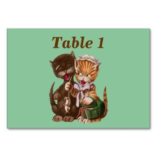 Vintage Cats Rat Gift Basket Table Card