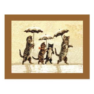 Vintage Cats Umbrellas Snow Postcard