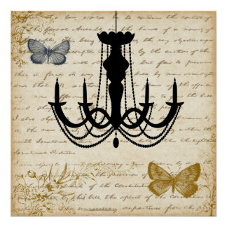 Vintage Chandelier with Butterflies Poster