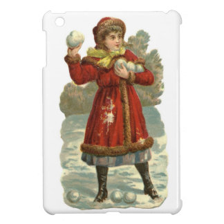 Vintage Child in Red  with Snowballs Cover For The iPad Mini