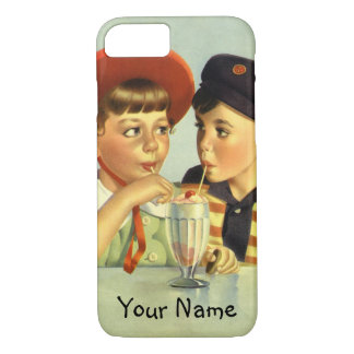 Vintage Children, Boy and Girl Sharing a Shake iPhone 7 Case