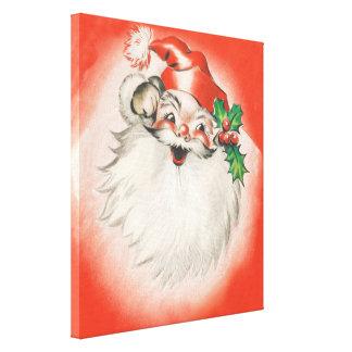 Vintage Christmas, Jolly Retro 50s Santa Claus Canvas Prints