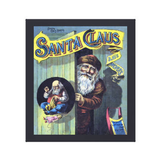 Vintage Christmas, Santa Claus and His Works Gallery Wrap Canvas