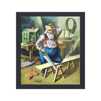 Vintage Christmas, Santa Claus Building Toys Canvas Print