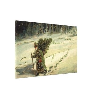 Vintage Christmas, Santa Claus Carrying a Tree Canvas Print