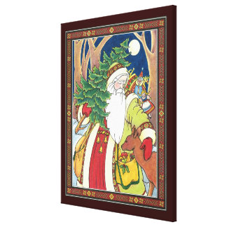 Vintage Christmas, Santa Claus Deer in Forest Stretched Canvas Prints