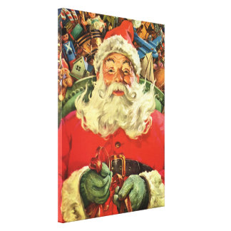 Vintage Christmas, Santa Claus in Sleigh with Toys Gallery Wrap Canvas