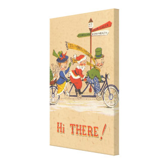 Vintage Christmas, Santa Claus Riding a Bicycle Canvas Prints