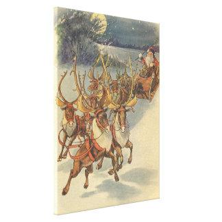 Vintage Christmas Santa Claus Sleigh with Reindeer Gallery Wrap Canvas
