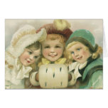 Vintage Christmas Sisters, Victorian Children Greeting Card
