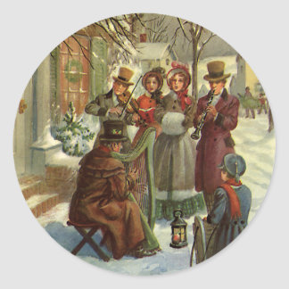 Vintage Christmas, Victorian Musicians Play Music Round Sticker